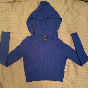 Forever 21 ribbed long sleeve crop top with hood m